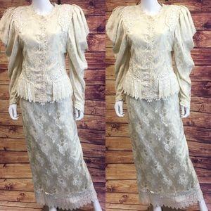 Vintage 80's Lorrie Kabala Victorian Skirt Set